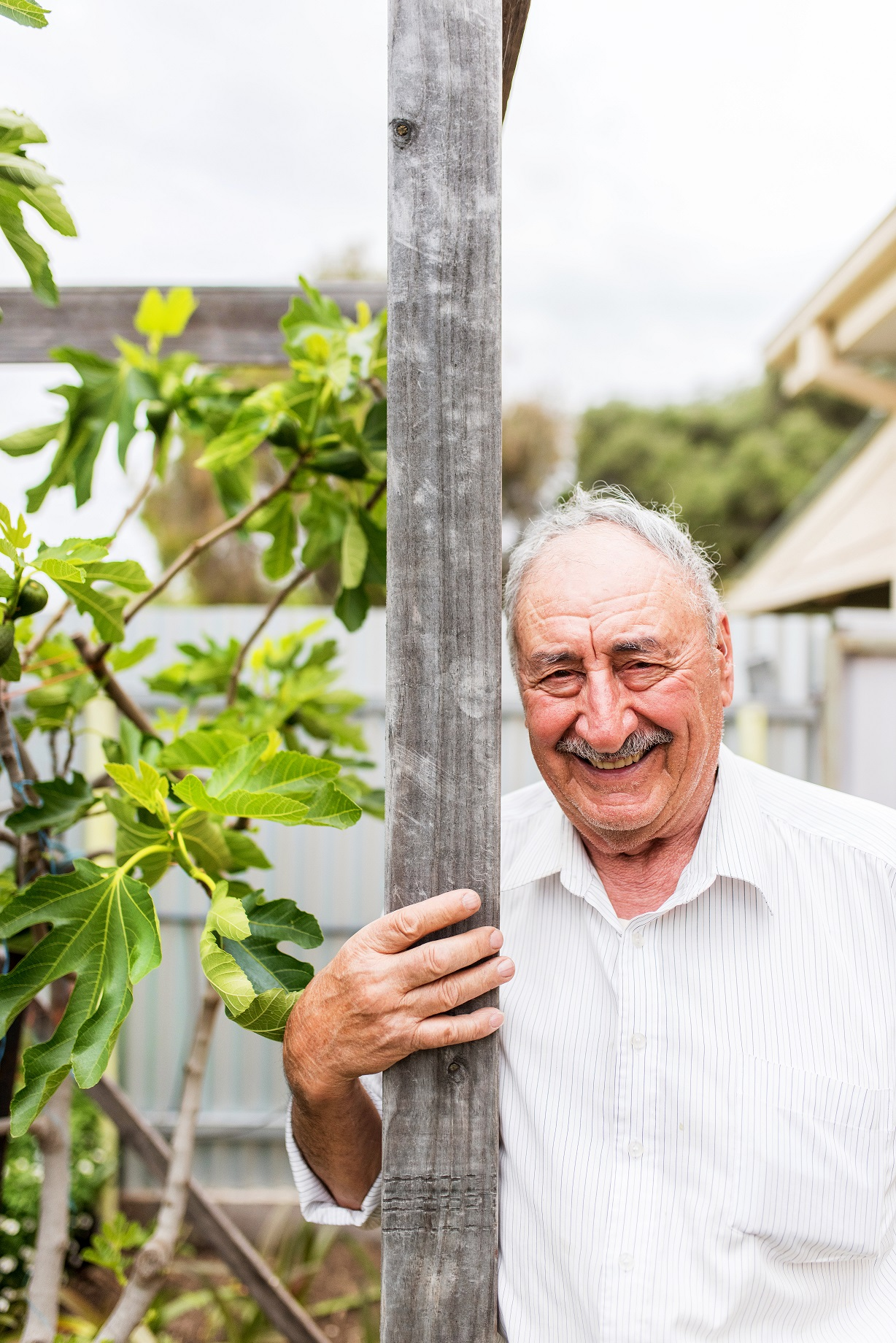 Older man in a garden