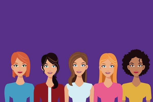 Cartoon image of five women