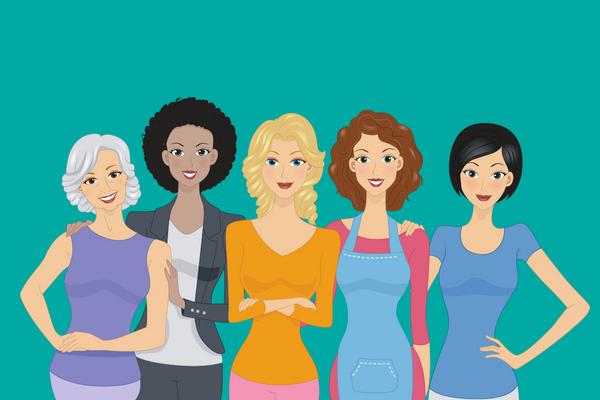 Five multicultural women