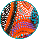 A decorative image of Aboriginal artwork