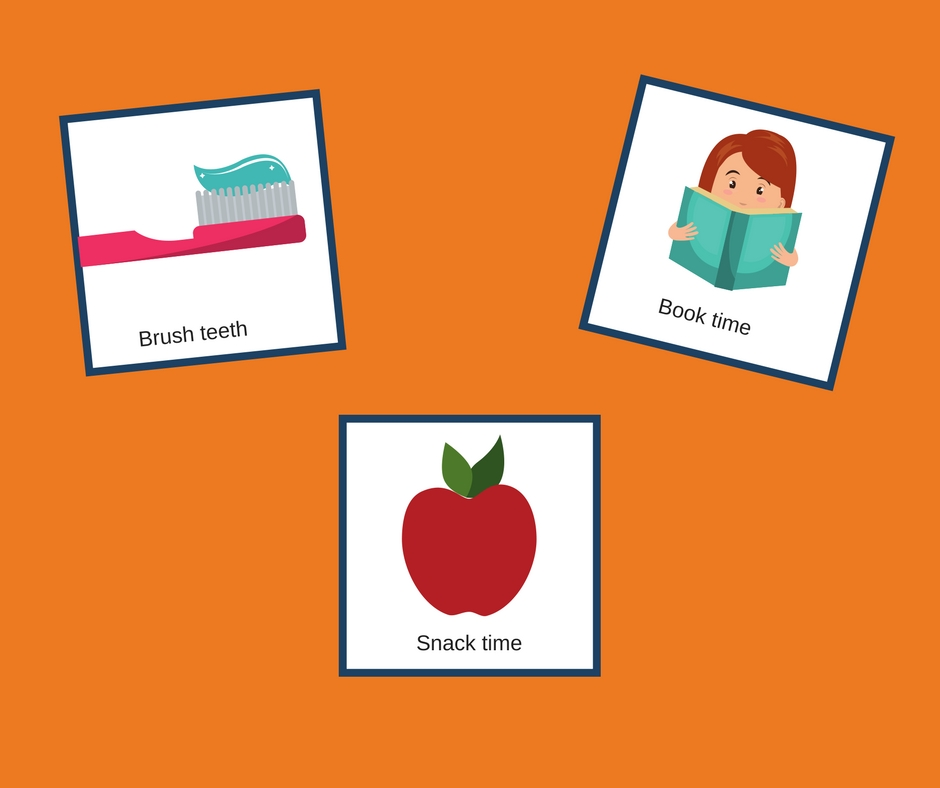 Three visual Support cards, first features toothbrush with toothpaste, second features a child reading and the third features an apple