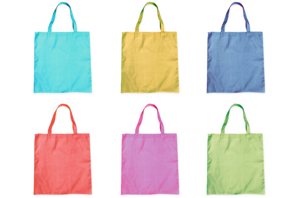 six fabric bags in different colours