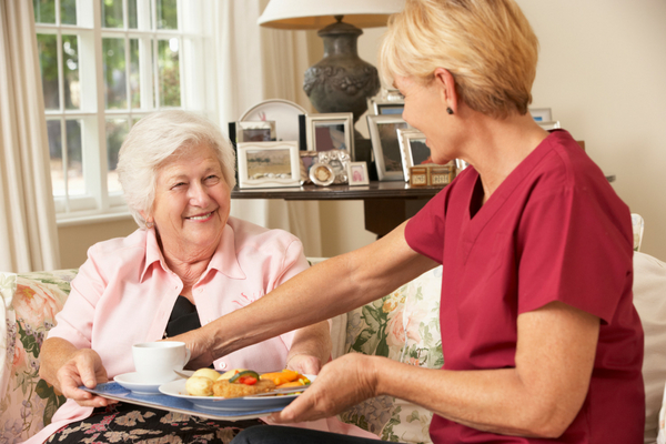 Carer serving meal to older lady